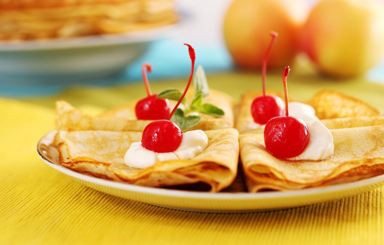 Photo wallpaper cherry, cream, pancakes, mint leaves