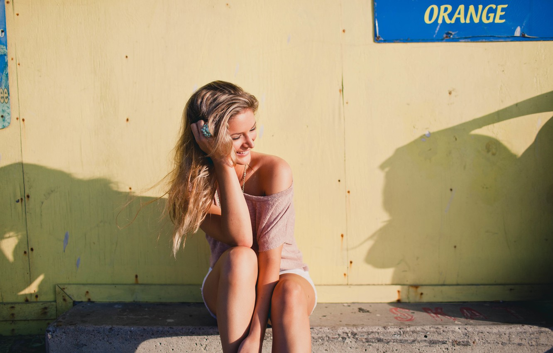 Photo wallpaper girl, smile, blonde