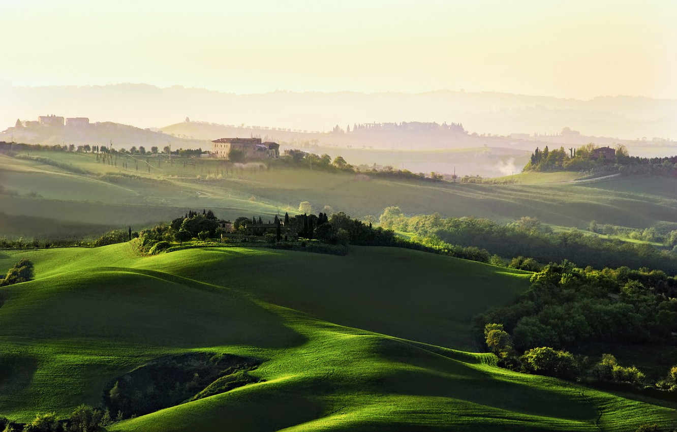 Photo wallpaper trees, dawn, hills, field, home, morning, Italy, haze, Tuscany