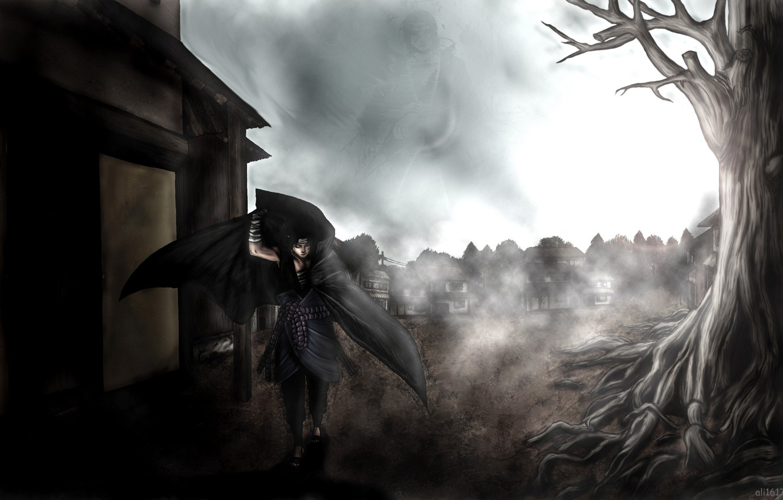 Photo wallpaper birds, the city, fog, tree, katana, naruto, bandages, Uchiha Itachi, uchiha sasuke