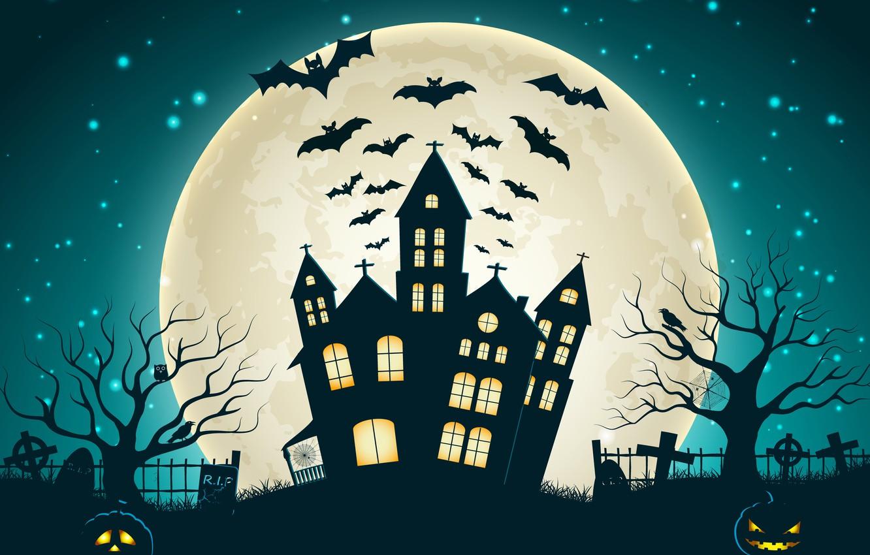Photo wallpaper trees, castle, vector, vector, cemetery, bat, horror, horror, trees, bat, castle, creepy, creepy, full moon, …
