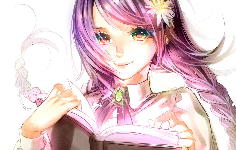 Photo wallpaper flower, girl, smile, art, book, tayuya1130