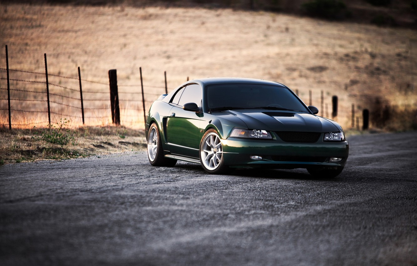 Photo wallpaper road, field, green, mustang, Mustang, the fence, green, ford, Ford, road, field