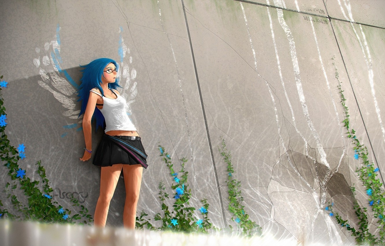 Photo wallpaper glass, girl, flowers, wings, Anime