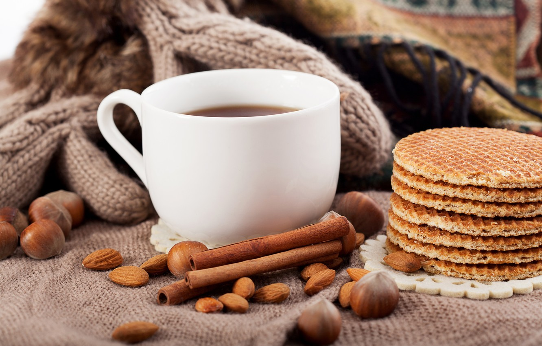 Photo wallpaper coffee, Cup, drink, nuts, cinnamon, waffles