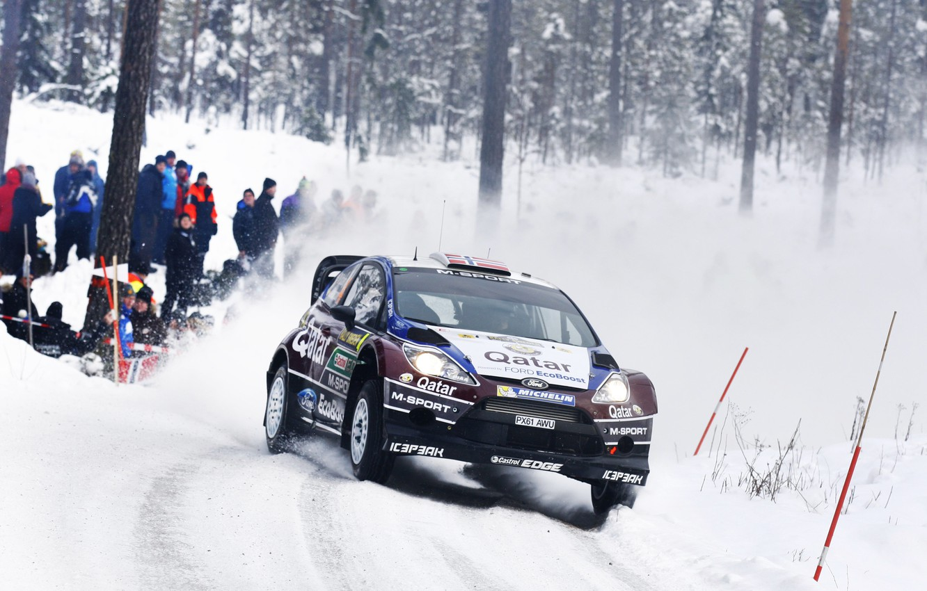 Photo wallpaper Ford, Winter, Auto, Snow, Sport, Machine, Race, The hood, WRC, the front, Rally, Fiesta, Cold