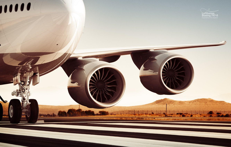 Photo wallpaper Engine, Lufthansa, Boeing 747-8, Hanseatic airlines, Turbofan