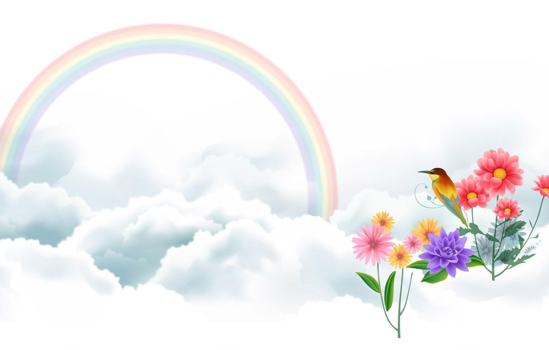 Photo wallpaper clouds, flowers, bird, rainbow, art, vector drawing