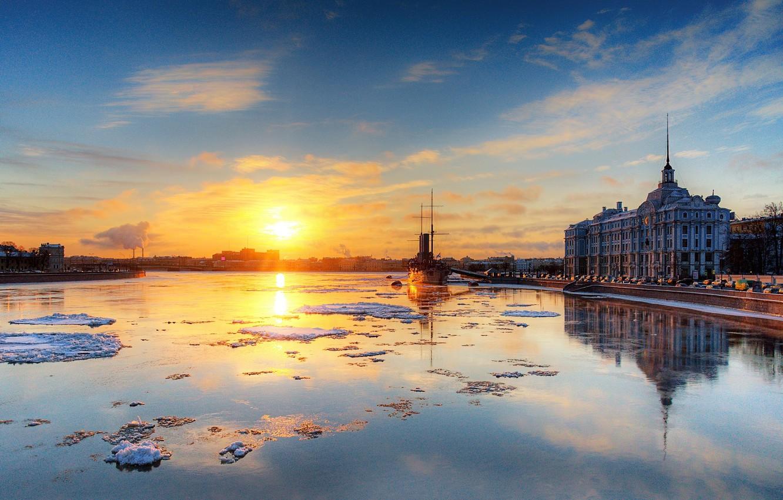 Photo wallpaper Saint Petersburg, Aurora, Neva