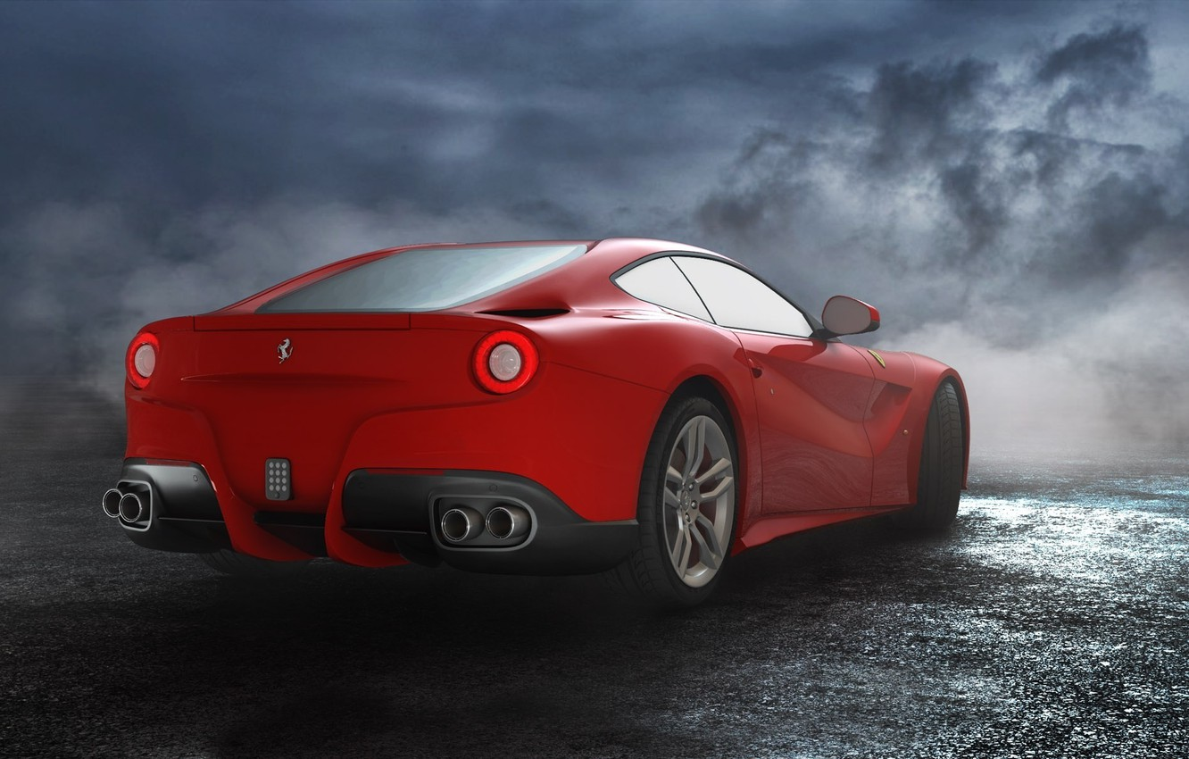 Photo wallpaper The sky, Red, Road, Wheel, Ferrari, Ass, Clouds, Exhaust, Red, Lights, Clouds, Sky, Mirror, Supercar, …