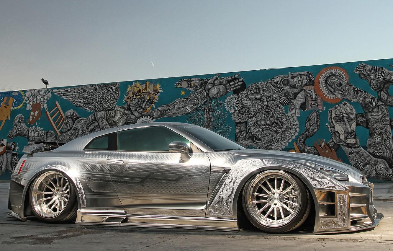 Photo wallpaper GTR, wall, Nissan, art, racing, kuhl