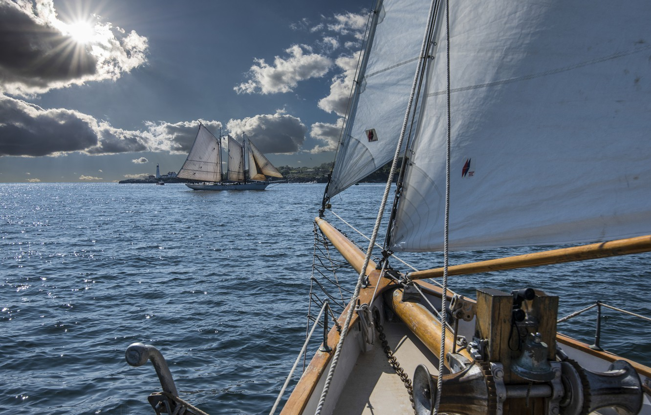 Photo wallpaper sailboat, Portland, Bay, sails, Portland, Maine, Man, schooner, Casco Bay, CASCO Bay