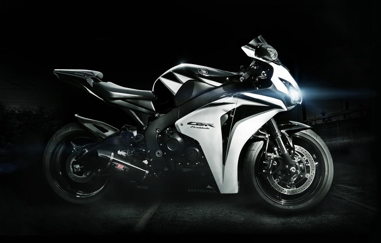 Photo wallpaper white, light, black, lights, white, honda, bike, Honda, supersport, cbr, fairplayd, fireblade