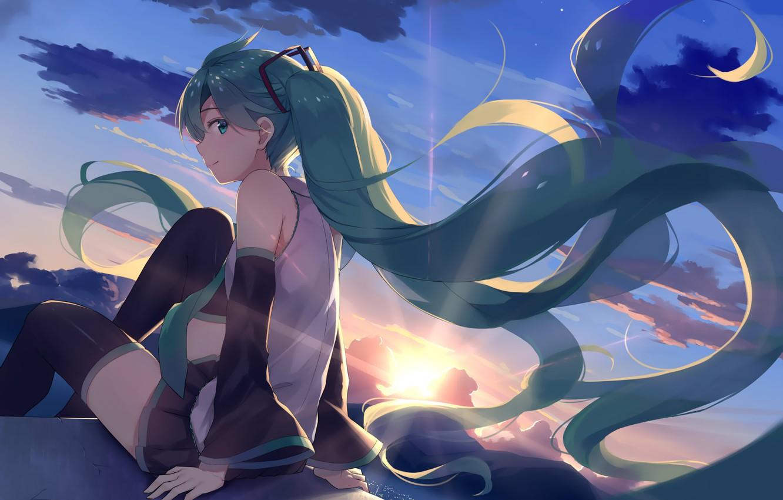 Photo wallpaper the sky, girl, clouds, sunset, smile, anime, art, vocaloid, hatsune miku, Alex master