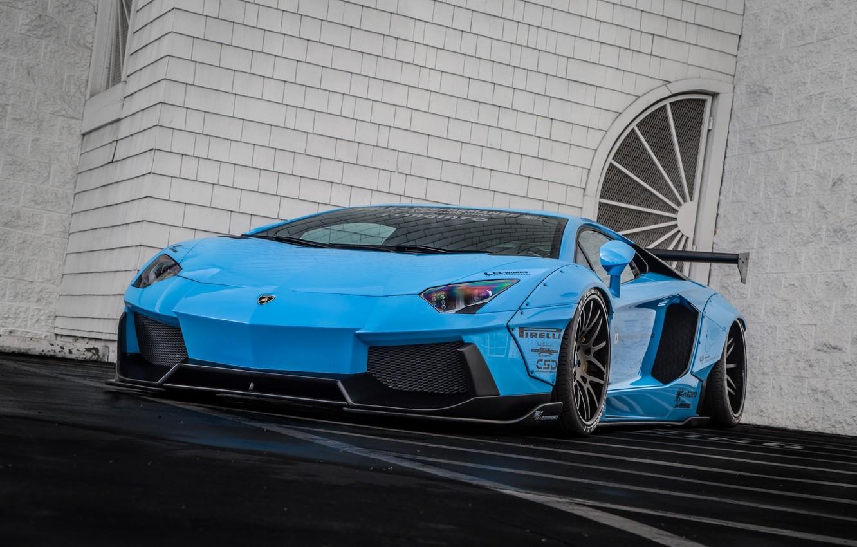 Photo wallpaper Lamborghini, Blue, Body, Front, LP700-4, Aventador, Supercar, Liberty, Walk