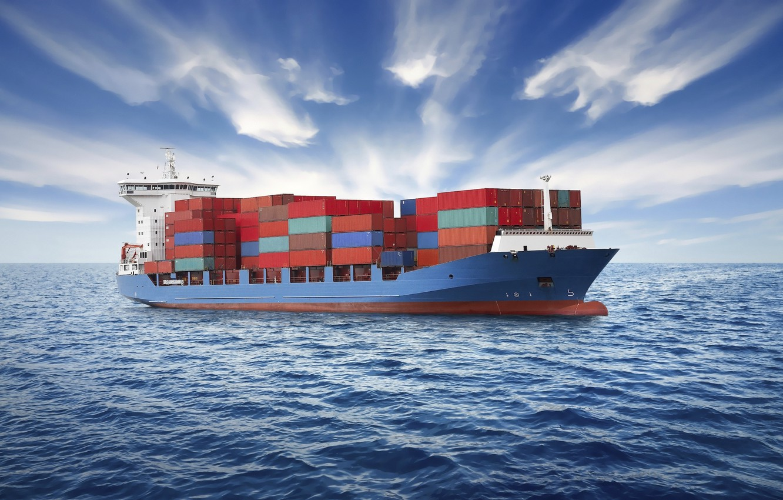 Photo wallpaper sea, clouds, ship, a container ship, oceandemo