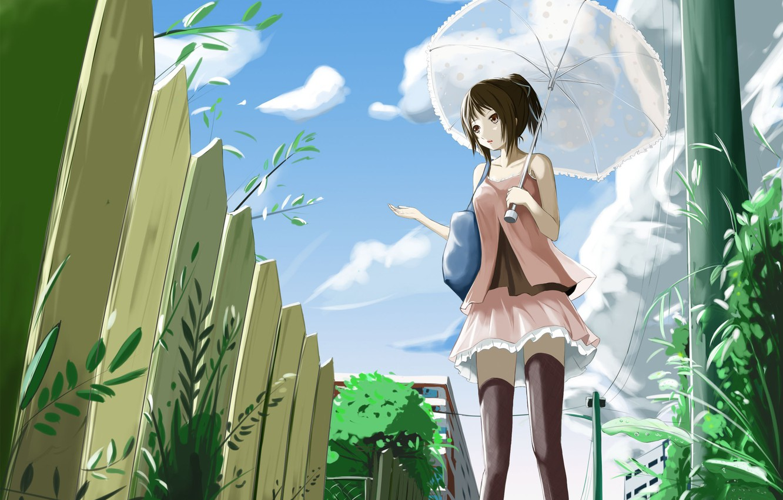 Photo wallpaper Umbrella, girl, Anime, kyaro54, kyaro, The fence.