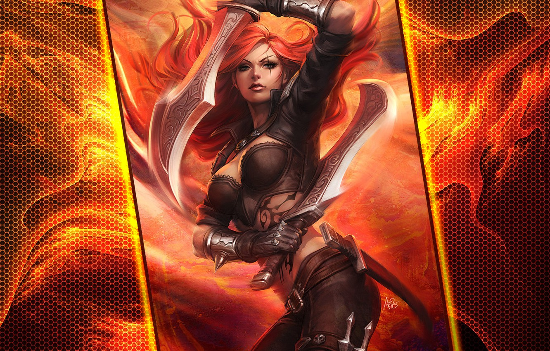 Wallpaper Girl Pose Tattoo Swords League Of Legends Katarina