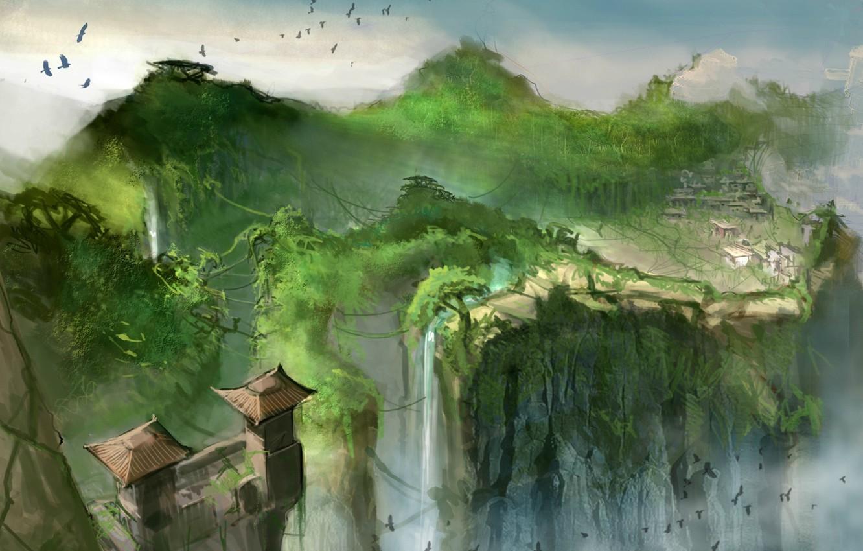Photo wallpaper birds, bridge, rocks, waterfall, home, rope, roof, Heavenly Sword, gorge