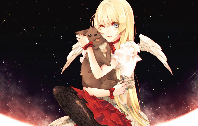 Photo wallpaper cat, girl, angel, anime, art, Nill, Dogs: Bullets & Carnage