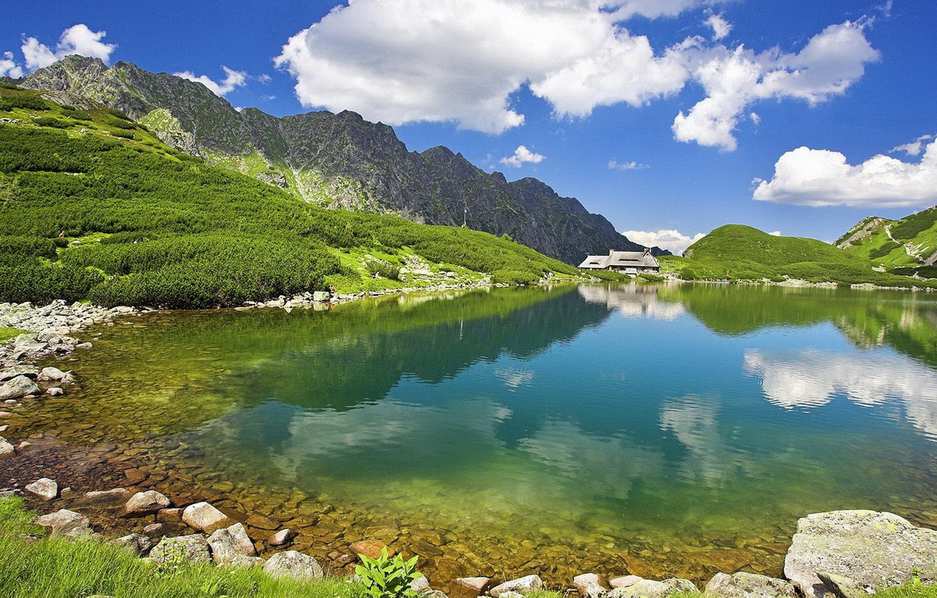 Photo wallpaper summer, the sky, water, mountains, nature, lake, transparent, the distance, house.