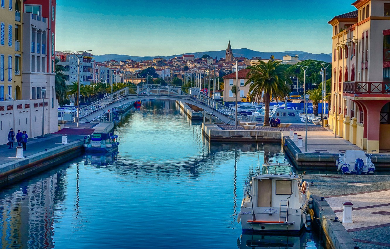 Photo wallpaper bridge, France, home, channel, Provence-Alpes-Cote d'azur, Frejus
