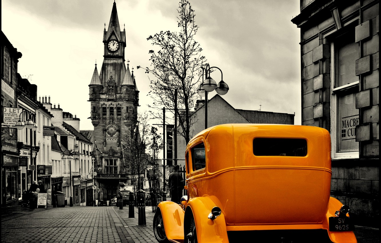 Photo wallpaper yellow, Taxi, taxi