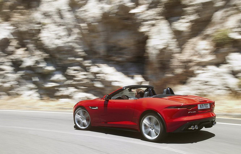 Photo wallpaper movement, turn, Jaguar, convertible, side view, red, jaguar, f-type
