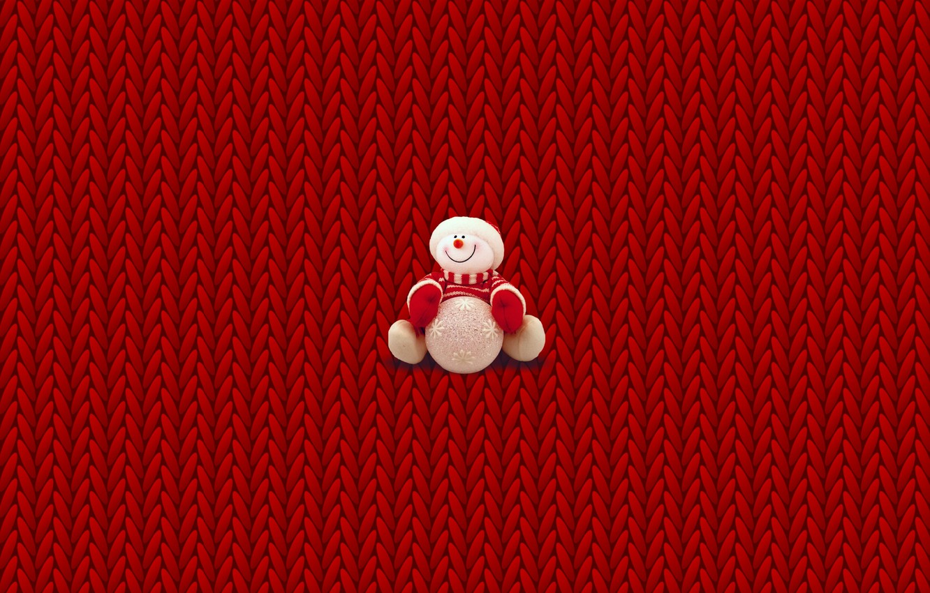 Photo wallpaper winter, minimalism, Christmas, New year, snowman, Christmas, sweater