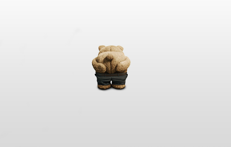 Photo wallpaper ass, pose, ass, minimalism, bear, plush, pants, Miho, Ted, The third wheel