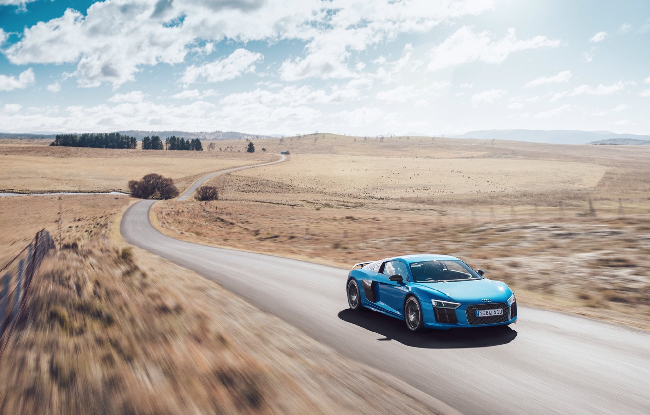 Photo wallpaper car, machine, the sky, Audi, speed, road, speed, V10, More