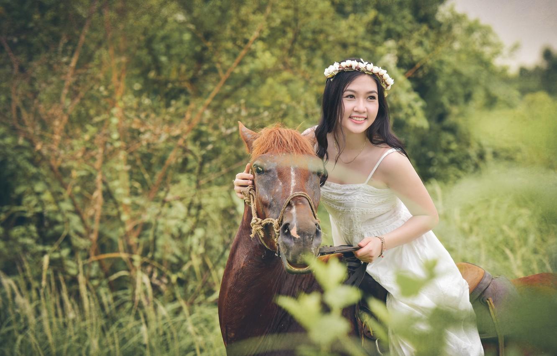 Photo wallpaper face, smile, horse, horse, dress, rider, Asian, wreath