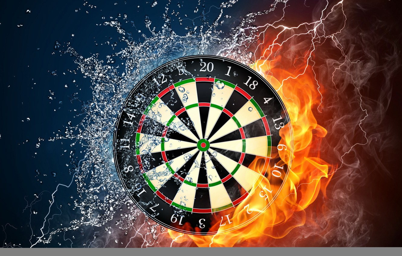 Photo wallpaper water, drops, squirt, fire, flame, smoke, category, power, Darts, target, wallpaper., darts, elements