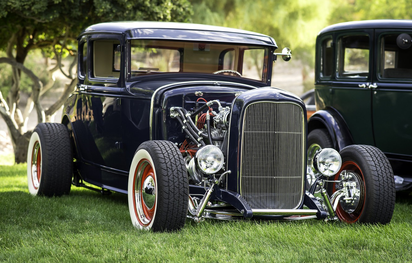 Photo wallpaper retro, Ford, the front, hot-rod