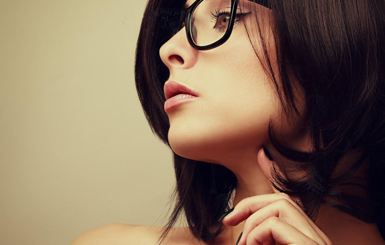 Photo wallpaper look, background, hair, glasses, shoulders, girl. profile