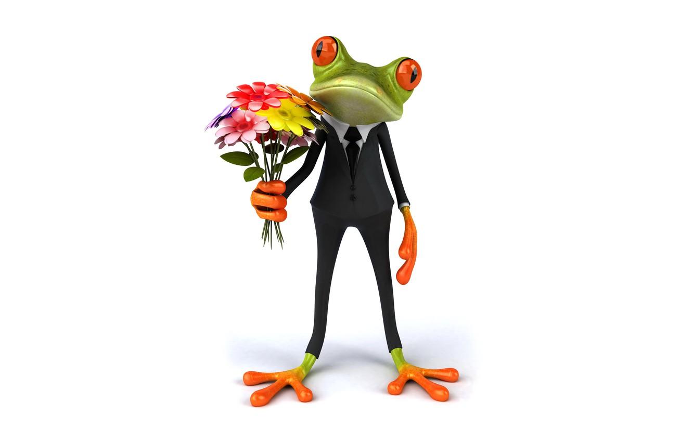 Photo wallpaper frog, frog, flowers, funny, elegant