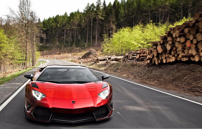 Photo wallpaper road, forest, asphalt, movement, logs, pine, Lamborghini aventador Mansory, lamborghini aventador mansory