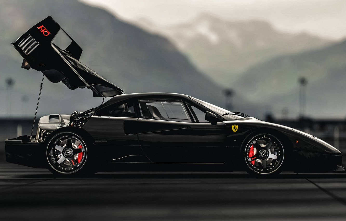Photo wallpaper black, f40, Ferarri