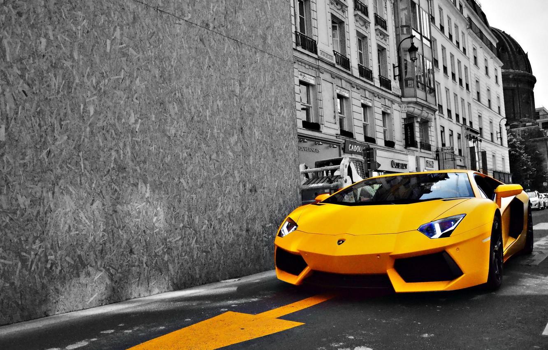 Photo wallpaper road, yellow, the city, Lamborghini, Lamborghini, sports car, LP700-4, Aventador, luxury, Aventador