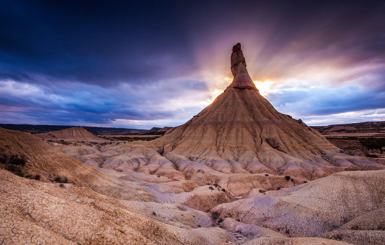 Photo wallpaper sunset, nature, mountain, northern Spain, The Bardenas Reales National Park