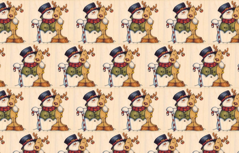Photo wallpaper background, mood, holiday, texture, deer, art, New year, snowman, children's, caramel