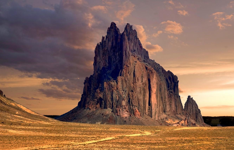 Photo wallpaper desert, New Mexico, desert, New Mexico, rock, rock formation, Shiprock Peak
