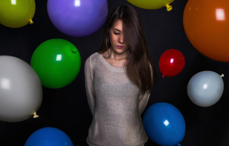 Photo wallpaper girl, birthday, balls, a sad holiday