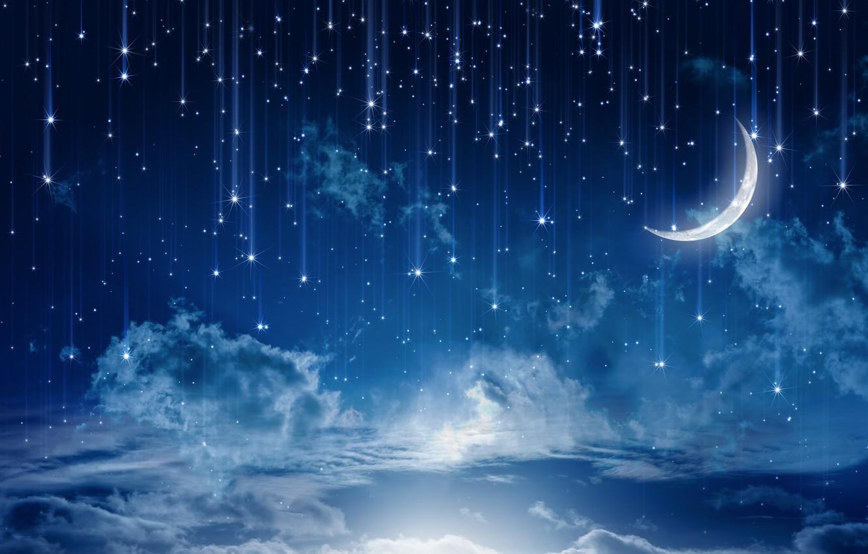 Photo wallpaper the sky, stars, clouds, landscape, night, nature, lights, lights, rain, the moon, moon, rain, sky, …
