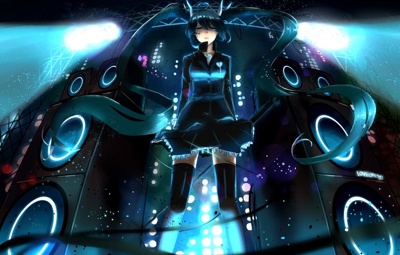 Photo wallpaper look, girl, scene, tears, speakers, vocaloid, hatsune miku, Vocaloid, art, floodlights