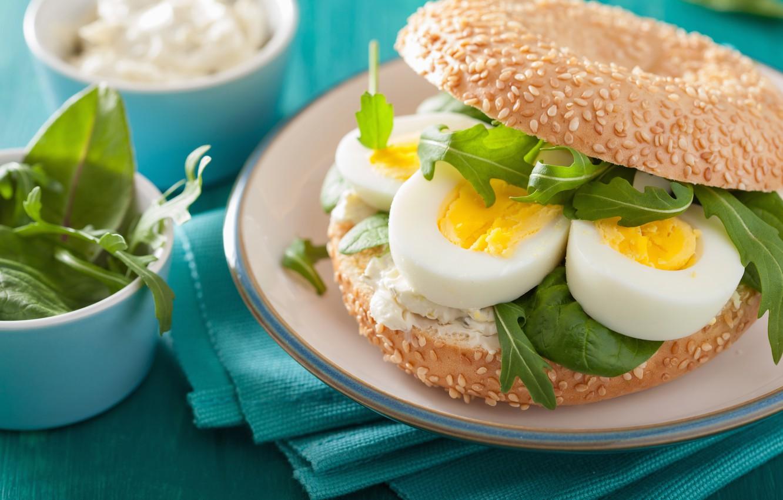 Photo wallpaper food, eggs, plate, sandwich, salad, buns