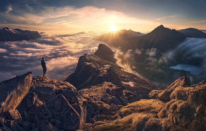 Photo wallpaper Clouds, Sky, Sun, Mountain, Man, High, Smog