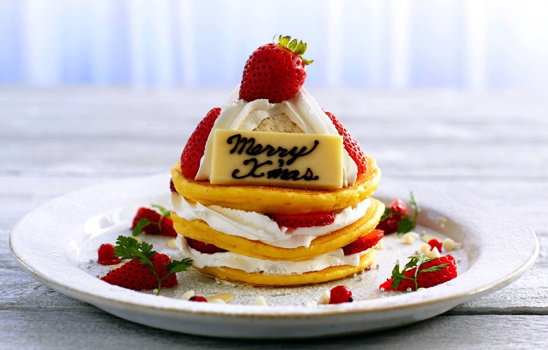 Photo wallpaper strawberry, pancakes, cream, sweet, powdered sugar