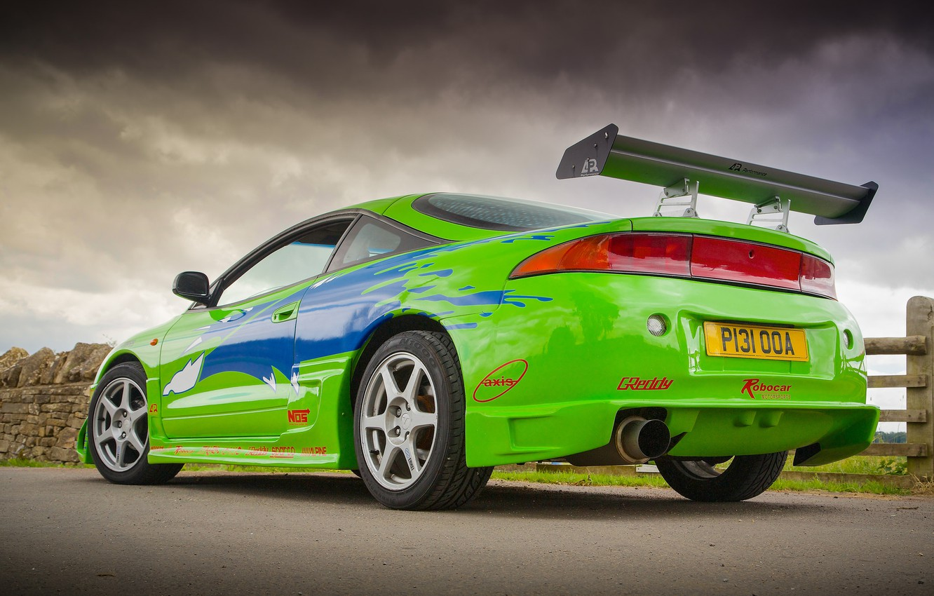 Photo wallpaper auto, green, super, Kar, Mitsubishi Eclipse