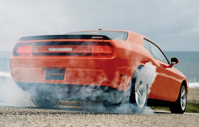Photo wallpaper machine, auto, smoke, slip, the rear part, Dodge Challenger SRT